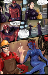 breasts comic english_text funny glasses magneto marvel mystique panels red_eyes shadman team_fortress team_fortress_2 text x-men
