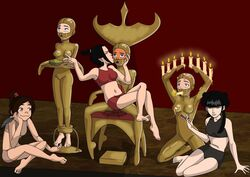 avatar_the_last_airbender azula black_hair bondage brown_hair candles female female_only femdom forniphilia gagged human human_furniture katara mai_(avatar) multiple_females suki toph_bei_fong ty_lee