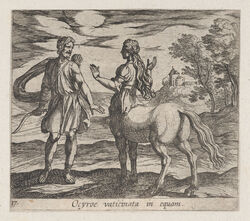 1606 17th_century ancient_furry_art animal_genitalia animal_pussy antonio_tempesta beard bow_(weapon) building centaur clothed clothing duo equine equine_pussy equine_taur etching facial_hair female greek_mythology hair hi_res holding_object holding_weapon human landscape latin_text license_info long_hair looking_at_another male mammal monochrome mythology ocyrhoe outside public_domain pussy ranged_weapon sepia sky standing taur text traditional_media_(artwork) tree tunic weapon