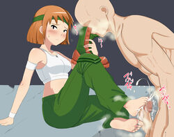 advance_wars barefoot blush boots bra censored clothes_sniffing cum cum_on_lower_body domino feet female foot_fetish footjob headband midriff military military_uniform pants penis phb red_hair shoes_removed short_hair sitting smell smelling smelly_feet sniffing soles sports_bra sweat toes uniform white_bra wristband