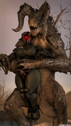2017 3d assaultron breasts claws deathclaw duo fallout female highres horn machine male penis planetmojo robot scalie sex source_filmmaker straight