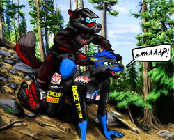 bike canine couple dirt dog dont female forest halon humor hunting jackal love male mammal mate mates mohawk motorcycle piercing please riding sammichez silly straight style thehuntingwolf tree vehicle wolf wounded