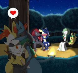 blush braixen campfire fan_character female fingering fiona gardevoir greninja hand_on_chest hand_on_face heart hug kissing kris lucario male masturbation necklace night nintendo outside penis pikachu pokemon pokeporn precum riky scarf sparks straight sweatband vergil winick-lim zoroark