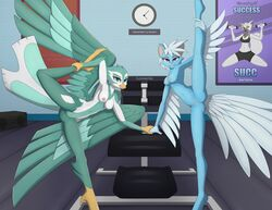 absurd_res anthro breasts clock dreamkeepers duo fae_winters feathers felid female gym hi_res looking_at_viewer mammal navel nipples non-mammal_breasts nude poster pussy remarkably_average shake_weight smile