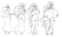 animal_humanoid big_breasts blush bovine breast_expansion breasts clothed clothing coldhalo collar cow_humanoid cowbell dress drooling female footwear hair hand_on_breast hex_maniac hooves horn huge_breasts human human_to_humanoid humanoid long_hair mammal monochrome nipple_bulge nipples nude open_mouth pussy saliva sequence shoes solo standing surprise tail_growth torn_clothing transformation