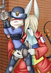 2017 anthro biting_lip blonde_hair blue_eyes blush breasts brown_fur buckteeth burmecian claws clitoris closed_eyes clothed clothing coat crossover disney duo female final_fantasy final_fantasy_ix finger_fuck fingering freya_crescent fur grey_fur hair handcuffs hat judy_hopps lagomorph mammal mancoin pipe police_uniform pussy pussy_juice rabbit rodent shackles square_enix teeth torn_clothing uniform vaginal_penetration video_games yuri zootopia
