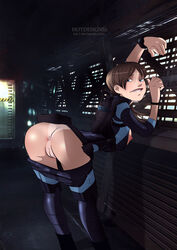 anus arched_back ass blue_eyes bodysuit breasts_outside brown_hair capcom hotdesigns2 jill_valentine leaning looking_back night nipples no_panties pants_down ponytail pussy resident_evil resident_evil_revelations satchel ship sideboob skin_tight tanline tied_hair uncensored watch wetsuit