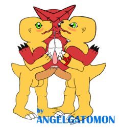 agumon anal anal_sex angelgatomon_(artist) balls blush cum cum_while_penetrated cumshot digimon erection licking licking_face looking_pleasured male male_only orgy penetration penis sex shoutmon trio yaoi