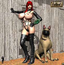 1girl 3d against_wall ambiguous_gender areolae bare_shoulders belly bethesda big_breasts black_fur black_gloves brown_fur busty canine cleavage curvy detailed_background elbow_gloves erect_nipple erect_nipples eyelashes eyepatch fallout female front_view furry gloves gray_eyes half-dressed hand_on_hip hands_on_hip hands_on_hips high_heel_boots high_heels hourglass_figure huge_breasts human katt_(xskullheadx) latex leotard lipstick long_hair looking_at_viewer makeup navel nipples no_bra nude outdoors outside paws pose posing red_hair red_lipstick shadow sitting solo spikes standing text thighhighs topless video_game video_games voluptuous watermark wide_hips xskullheadx