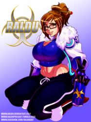 1girl artist_name big_breasts blizzard_entertainment boots bottle bracer brown_eyes brown_hair busty cleavage coat curvy english_text eyelashes female female_only front_view gloves hair_bun holding_object hourglass_figure human kneeling looking_at_viewer mei_(overwatch) midriff overwatch pose posing raldu shiny shiny_skin short_hair solo solo_female straw sunglasses text tied_hair tube_top tubetop video_game video_games voluptuous wide_hips