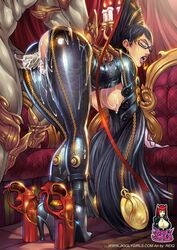 1girl areola ass bayonetta bayonetta_(character) bent_over big_breasts black_hair breasts busty candles cleavage cum dat_ass doggy_style female glasses gold gun hanging_breasts high_heels huge_breasts human jiggly_girls legs lipstick long_hair long_legs makeup male medallion nipples open_mouth reiq sega sex straight tongue_out torn_clothes
