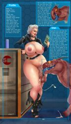 alien ato21 blue_eyes breasts cum curvy dangling_testicles datapad dickgirl ejaculation hair high_heels huge_balls huge_breasts human humanoid intersex interspecies large_penis long_hair mass_effect nail_polish navel nipples oral partially_clothed penis penis_lick saliva simple_background skimpy smile testicles thick_thighs toes uncensored varren veiny veiny_penis white_hair wide_hips zoophilia