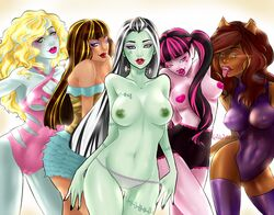 5girls belly black_hair blonde_hair blue_eyes blue_skin breasts brown_hair clawdeen_wolf cleo_de_nile clothes draculaura earrings female female_only frankie_stein green_eyes green_skin lagoona_blue large_breasts lipstick long_hair madammoanster makeup monster monster_high multicolored_hair multiple_females navel nipples panties pink_eye pink_hair pink_skin red_lipstick swimsuit tied_hair tongue tongue_out twintails two_tone_hair vampire werewolf white_hair yellow_eyes