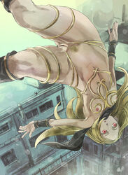 blonde_hair building capelet female gravity_rush kat_(gravity_rush) nipples open_mouth pubic_hair pussy red_eyes small_breasts solo upside-down wristband yohane