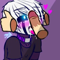 2018 black_skin blue_eyes blush clothed clothing collar cum cum_in_mouth cum_inside cum_on_face dark_elf datfurrydude disembodied_hand disembodied_penis elf five_nights_at_candy's five_nights_at_freddy's girly glowing glowing_eyes hair heart holding_head human humanoid male male/male mammal mask not_furry open_mouth penis puppet_(fnaf) purple_skin sharp_teeth shirt signature solo_focus teeth tongue tongue_out video_games white_hair