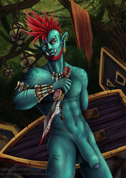 beard blood clothed clothing digital_media_(artwork) facial_hair foreskin hair humanoid looking_at_viewer male male_only muscular muscular_male nipples not_furry nude orc pecs penis piercing red_hair sevenarms smile solo standing tusks uncut warrior weapon