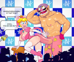 animal_ears ass big_breasts big_penis blonde_hair blue_eyes boots breasts cat_girl cleavage crown earrings erection frottage gloves hair huge_cock imminent_sex large_breasts muscles necklace nintendo nipples penis penis_on_ass penis_out precum princess_peach pussy pussy_juice rhythm_heaven standing super_mario_bros. tail thighhighs turk128 wario warrior