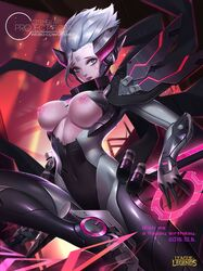alternate_costume alternate_hair_color alternate_hairstyle bodysuit breasts breasts_cutout citemer cyborg female fiora_laurent grey_hair league_of_legends looking_at_viewer power_armor solo