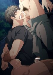 2boys blush bottomless brown_hair drooling erection facial_hair fellatio hihumi male_focus multiple_boys outdoors penis pubic_hair restrained saliva solo_focus sucking sweat tape testicles x-ray yaoi