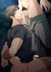 2boys blush bottomless brown_hair cum cum_in_mouth drooling ejaculation erection facial_hair fellatio hihumi male_focus multiple_boys orgasm outdoors penis pubic_hair restrained saliva solo_focus sucking sweat tape testicles x-ray yaoi