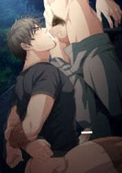 2boys blush bottomless brown_hair drooling erection facial_hair fellatio hihumi male_focus multiple_boys outdoors penis pubic_hair restrained saliva solo_focus sucking sweat tape testicles yaoi