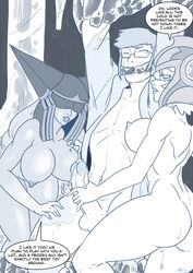 1boy 2girls ass breasts femdom league_of_legends lissandra mad-project nude penis sejuani