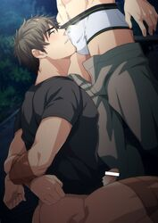 2boys blush bottomless brown_hair bulge crotch erection facial_hair hihumi male_focus multiple_boys outdoors penis restrained solo_focus sweat tape underwear undressing yaoi