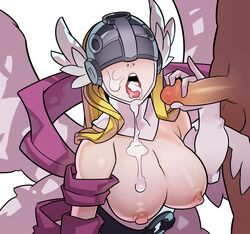 angewomon big_breasts blonde_hair breasts cum_in_mouth cum_on_breasts cum_on_face digimon female hair handjob male splashbrush