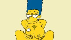 animated areola bedroom_eyes big_breasts blue_hair breast_grab breasts cum cum_on_breasts cum_on_face cum_on_upper_body curly_hair ejaculation eyelashes faceless_male female human large_breasts long_hair male marge_simpson milf nickartist nipples paizuri pov simple_background smile solo_focus straight the_simpsons yellow_skin