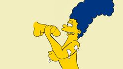 animated areola balls balls_deep big_penis blue_hair breast_press breast_squish breasts cum cum_on_arm cum_on_breasts curly_hair deepthroat disembodied_penis duo ejaculation eyelashes eyes_closed fellation female gif human invisible_wall large_breasts long_hair male marge_simpson milf nickartist nipples penis penis_grab side_view sideboob simple_background solo_focus straight the_simpsons yellow_skin