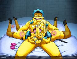 alex_whitney ball_fondling big_penis chief_wiggum cop fellatio female fingering handcuffs ho7ik human maggie_simpson male oral penis police policewoman saliva straight the_simpsons threesome