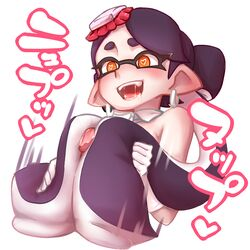 black_hair callie_(splatoon) detached_collar drooling earrings food food_on_head gloves heart heart-shaped_pupils jewelry object_on_head open_mouth orange_eyes penis pointy_ears saliva splatoon symbol-shaped_pupils tentacle_hair tentacle_job white_background white_gloves