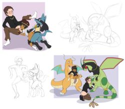 3_fingers 3_toes 5boys all_fours antennae anthro ass aurelien_(nextime) beret black_fur black_topwear blue_eyes blue_fur bottomless brown_hair canine cloth clothed_sex clothing dark-skinned_male dark_skin doggy_style dragonite drake_the_dracolosse enookie eyewear feet fellatio feral fingerless_gloves flygon footwear foursome from_behind_position fur furry gay glasses gloves green_skin grey_eyes group group_sex hand_on_head hat headwear holding human human_on_anthro human_on_human idriss_(nextime) interspecies jabot kadhem_(nextime) kneeling leg_grab legwear lucario male male_only mammal monochrome nasri_(nextime) nintendo nude on_knee on_top one_eye_closed oral orange_skin original_character pants partially_colored paws penis pokémon_(species) pokemon pokemon_dppt pokemon_rgby pokemon_rse pubic_hair red_eyes scalie sex shirt shoes short_hair shorts sitting size_difference sketch socks spitroast spread_legs standing tail tan_skin testicles the_exceeders_force thick_thighs threesome turban uncut video_games wide_hips wince wings yaoi yellow_fur young zoophilia
