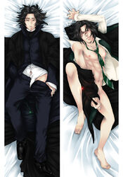 1boy abs black_hair blush body_pillow coat harry_potter long_coat male_only muscle nipples pecs school_uniform severus_snape short_hair teacher tie undressing wand wizard