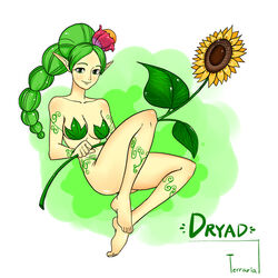 barefoot convenient_censoring dryad dryad_(terraria) feet sunflower terraria vines