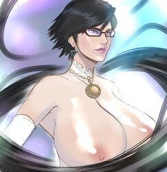 absurdres bayonetta bayonetta_(character) bayonetta_2 black_hair breasts detached_collar earring elbow_gloves female glasses gloves highres huge_breasts lipstick makeup mole nipples nude solo zetarok