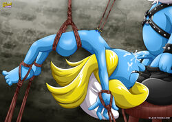 barefoot blue_skin bondage breasts female helpless oral slavetoon smurfette tagme the_smurfs