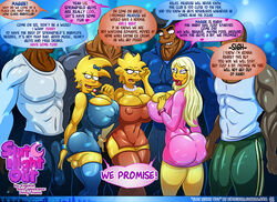 3girls bbc big_breasts big_penis bimbo blonde_hair breasts bulge busty cleavage dark-skinned_male dark_skin english_text eyeshadow hair interracial jenny_poussin kogeikun lipstick lisa_simpson maggie_simpson makeup male penis siblings sisters text the_simpsons voluptuous