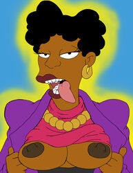 bernice_hibbert breasts dark_skin josemalvado the_simpsons tongue_out