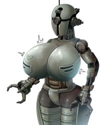 1girl 3_fingers assaultron breasts fallout fallout_4 heart huge_breasts machine no_nipples one_eye red_eye robot robot_girl standing technophilia trembling video_games white_background