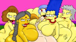 ass big_ass big_breasts big_penis breasts edna_krabappel female harem helen_lovejoy human luann_van_houten male manjula_nahasapeemapetilon marge_simpson maude_flanders maxtlat milf penis straight the_simpsons