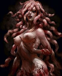 1girl artist_request berserk breast_grab breasts demon female female_only long_hair medium_breasts monster monster_girl nipples slan solo very_long_hair