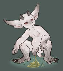 balls big_ears claws crouching flaccid horn imp male navel nipples peeing penis red_sclera scales slightly_chubby smutphibian toes uncut urine white_pupils