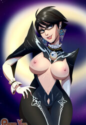 bayonetta bayonetta_(character) nipples open_clothes short_hair thehumancopier