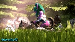 3d ambrosine92 animated bouncing_breasts breasts forest night_elf nude riding sex tyrande_whisperwind warcraft wolf world_of_warcraft zoophilia