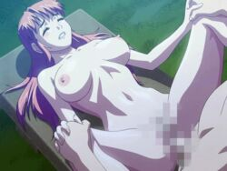 animated bench bounce bouncing_breasts breasts censored clenched_teeth closed_eyes exhibitionism eyes_closed game_cg houya_yukitoshi interlocked_fingers long_hair naked nude on_back pink_hair public public_sex reversible sex toned vaginal_penetration yoshimori_misaki