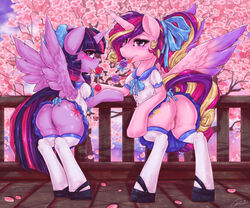 2016 alicorn ass blush candy clothed clothed_feral clothing cutie_mark dimwitdog duo equine feathered_wings feathers female feral food friendship_is_magic hair horn legwear licking lollipop looking_at_viewer mammal multicolored_hair my_little_pony outside princess_cadance_(mlp) purple_eyes pussy tongue tongue_out twilight_sparkle_(mlp) wings