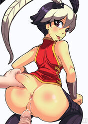 anus ass ass_grab bare_shoulders black_hair blush capri_pants chinese_clothes dat_ass female feng_(skullgirls) hmage looking_back male multicolored_hair pants pants_down penis precum purple_eyes short_hair simple_background skullgirls smile solo_focus tongue tongue_out two_tone_hair vambraces white_background white_hair