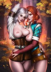 2girls areola areolae ayyasap breasts breasts breasts_outside ciri female female_only necklace nipples parted_lips pussy red_hair the_witcher the_witcher_3 the_witcher_3:_wild_hunt triss_merigold vagina white_hair