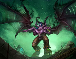 anal anal_sex blue_hair breasts cmnf elf evulchibi female front_view illidan_stormrage interspecies male night_elf nipples nude penetration penis pointy_ears purple_skin pussy sex size_difference standing_sex straight tyrande_whisperwind world_of_warcraft